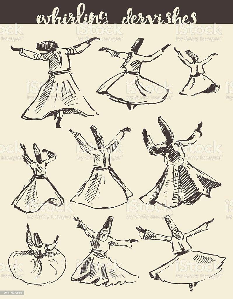 Whirling dervishes mevlana sufi hand drawn sketch vector art illustration
