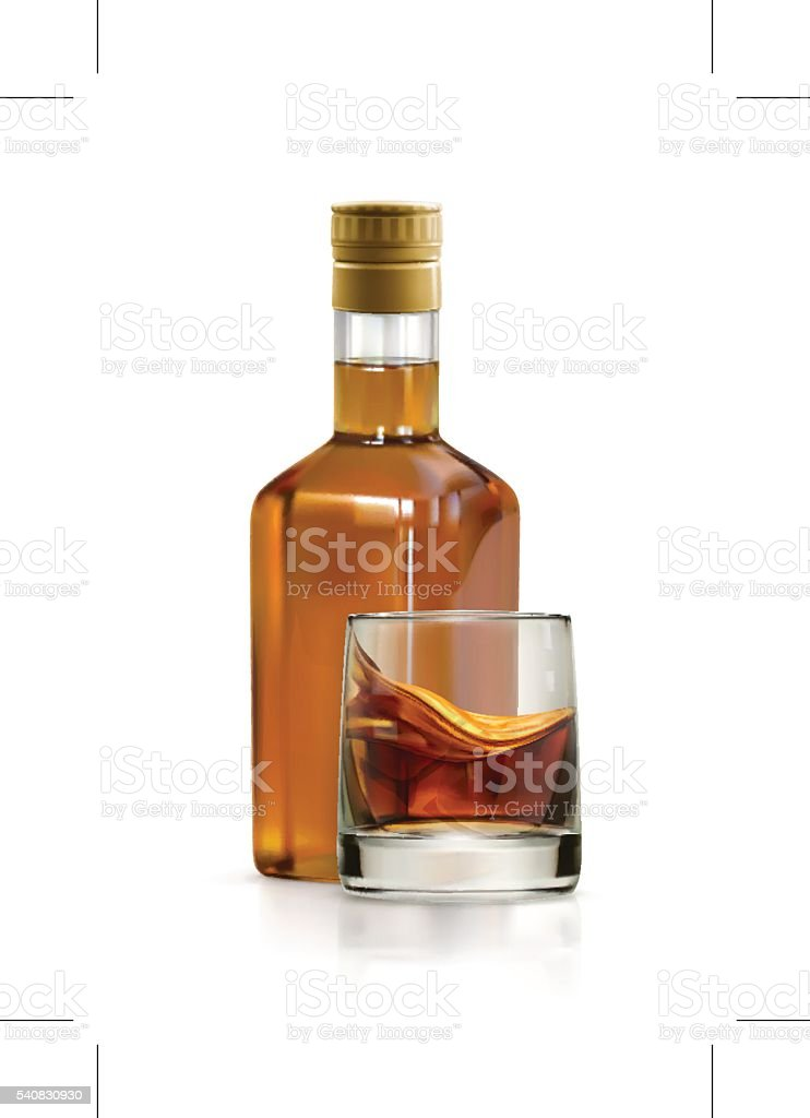 Whiskey, alcohol drink vector icon vector art illustration