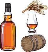 Whiskey bottle and hand holding full shot glass