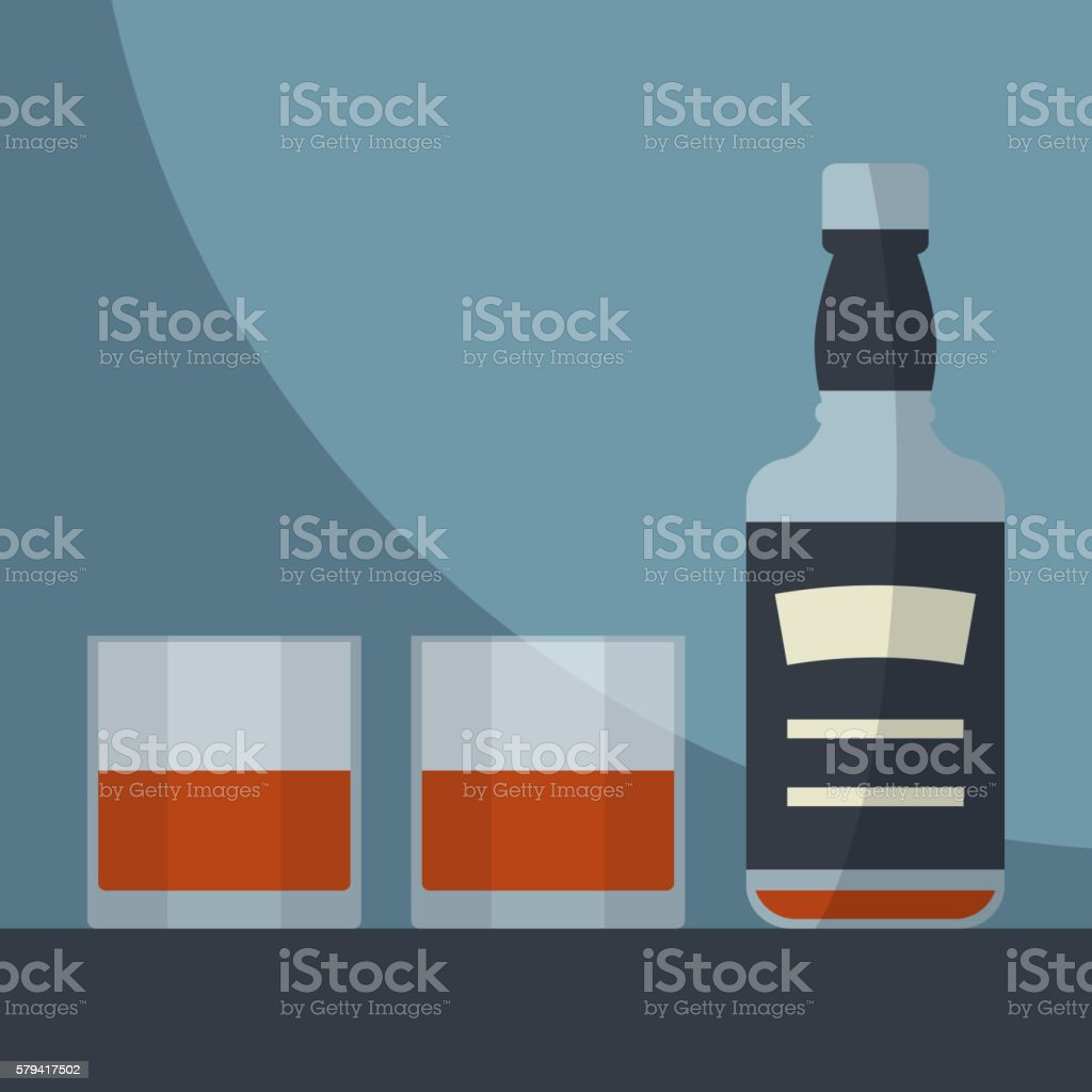 Whiskey empty bottle with two glasses filled. vector art illustration