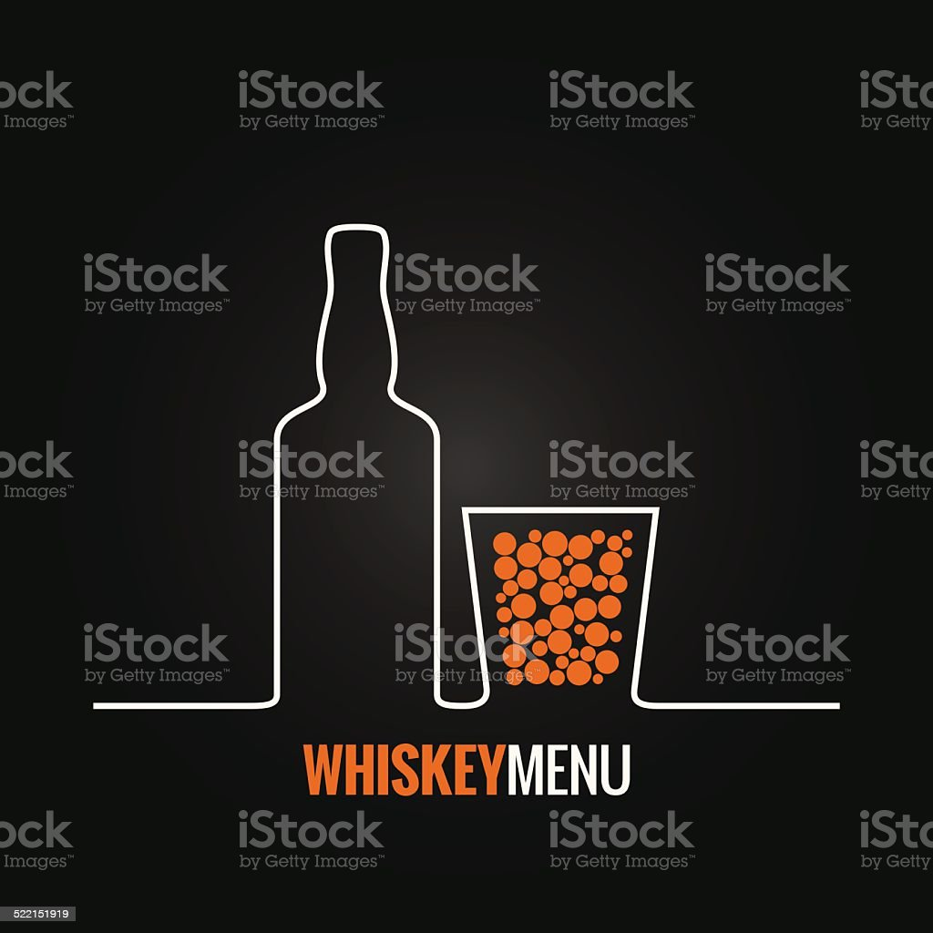 whiskey glass bottle menu background vector art illustration