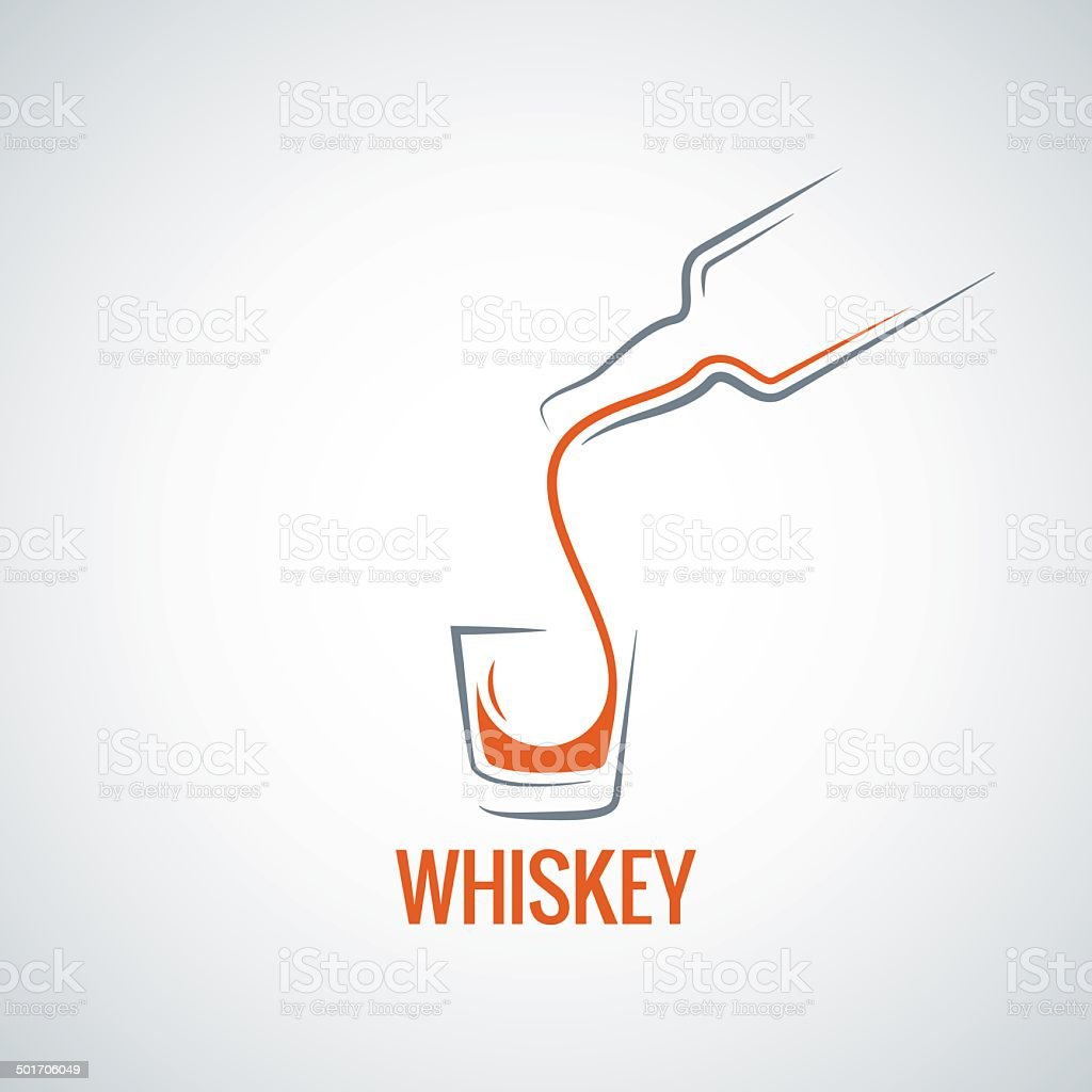 whiskey glass bottle shot splash background vector art illustration