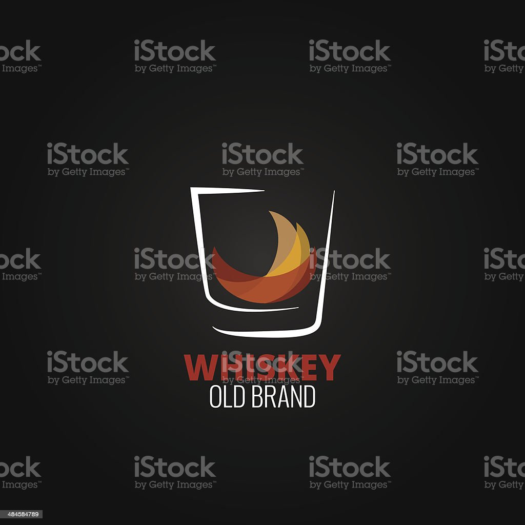 whiskey glass splash design background vector art illustration