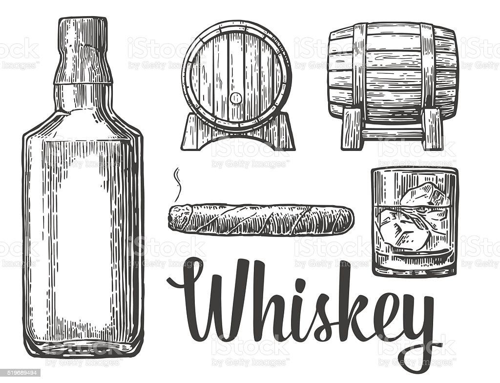 Whiskey glass with ice cubes barrel bottle cigar. vector art illustration