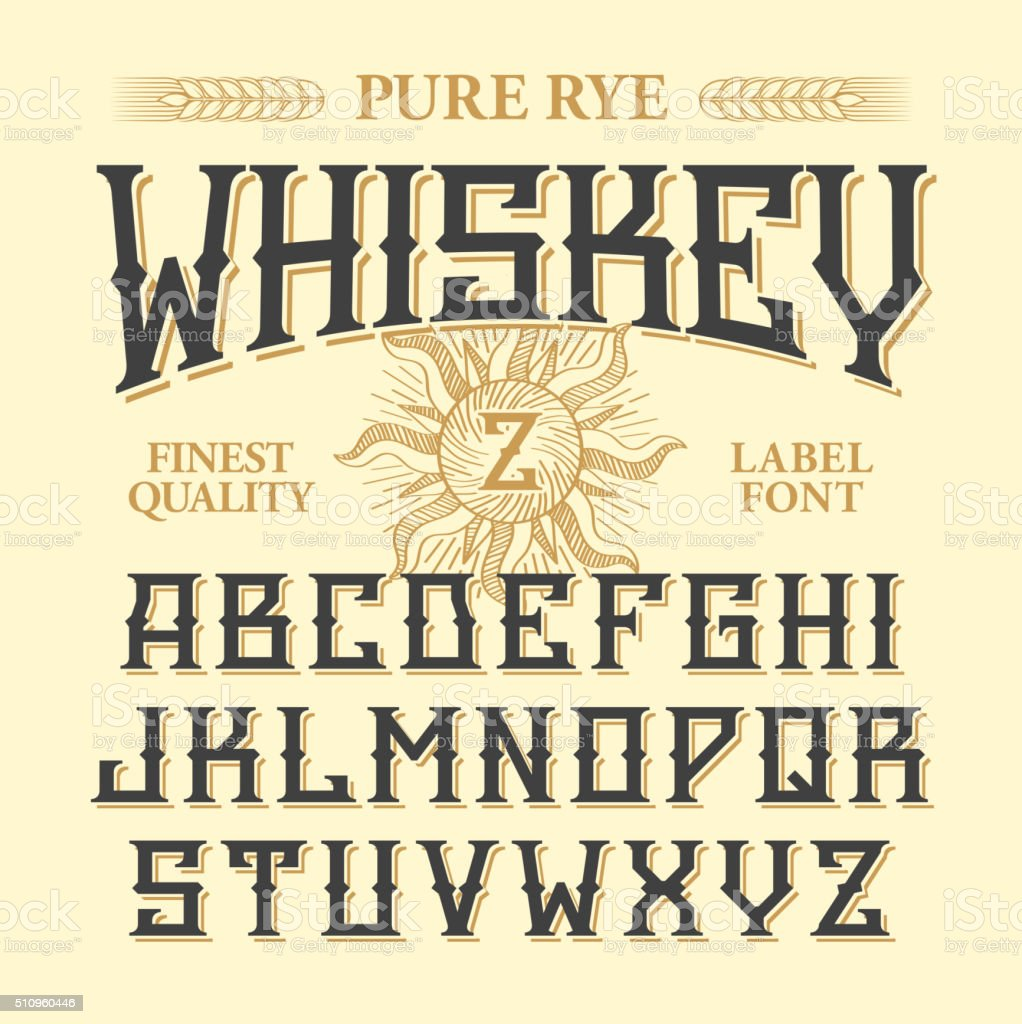 Whiskey label vintage font with sample design vector art illustration