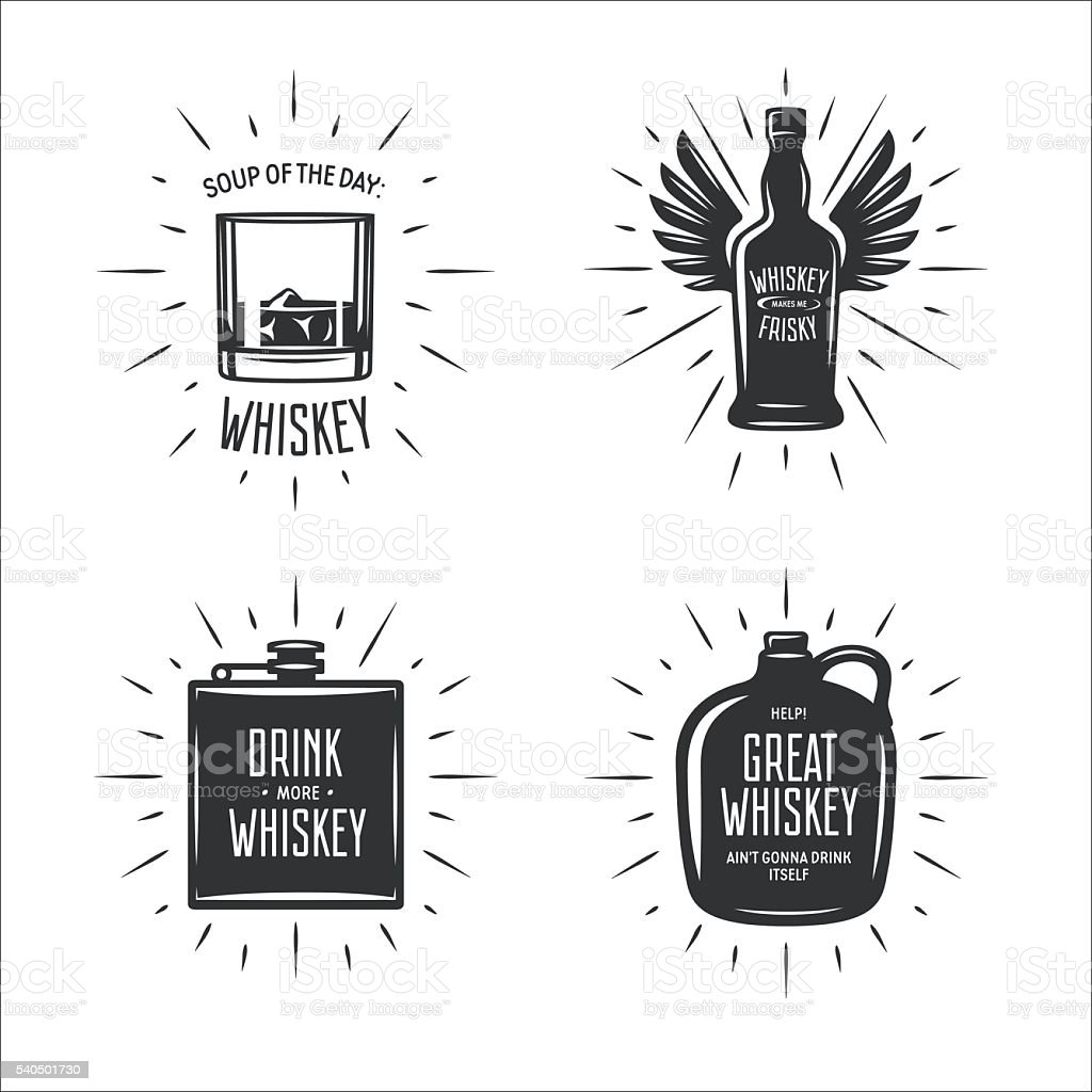 Whiskey related typography vector set. Vintage illustration. vector art illustration