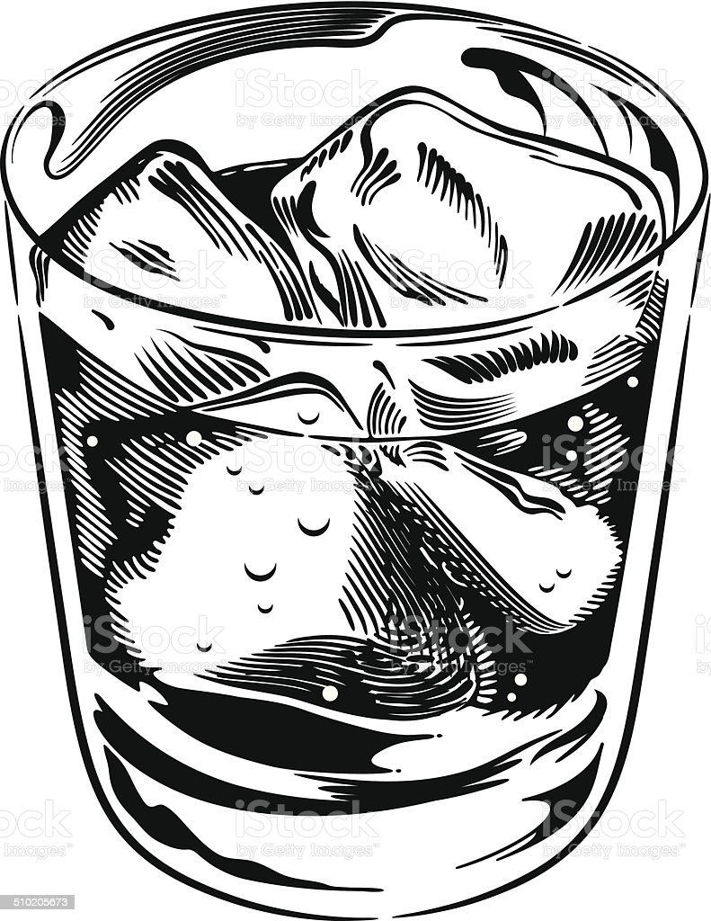 Whiskey Rocks Glass vector art illustration