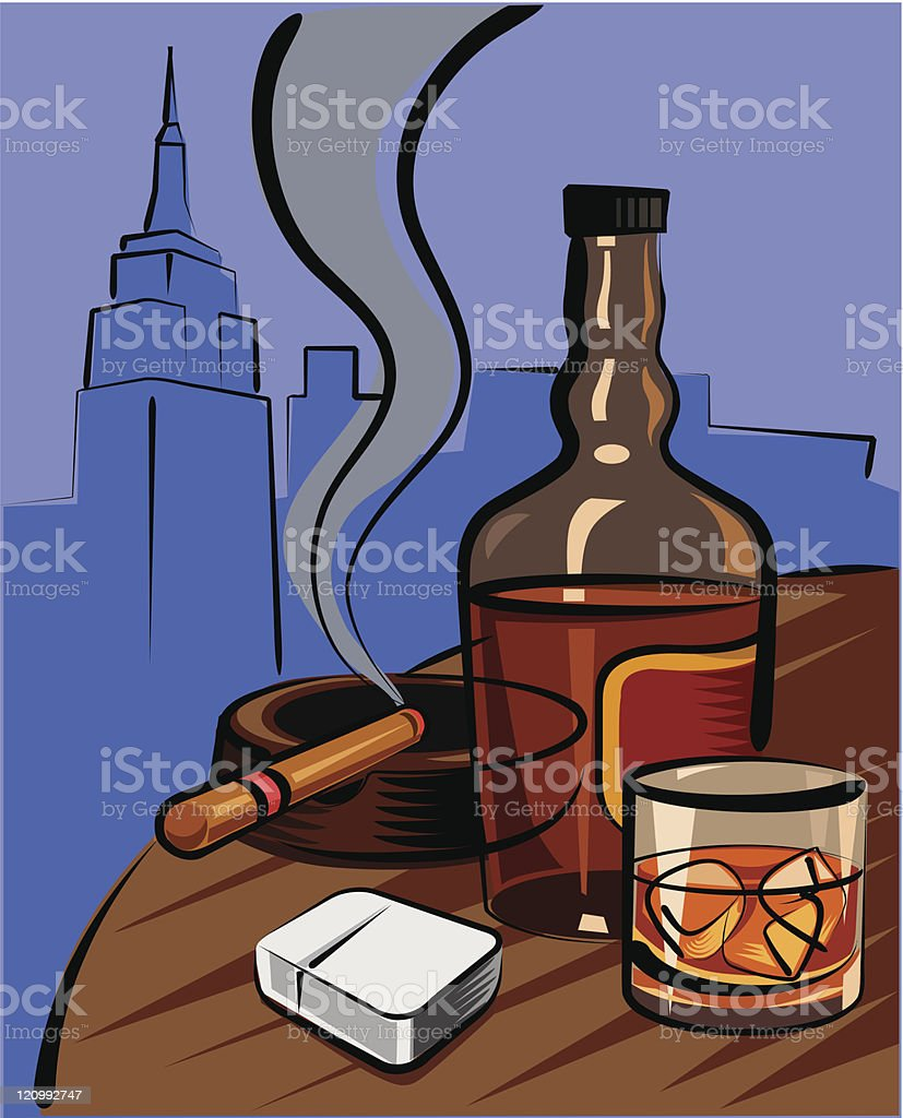 Whiskey vector art illustration