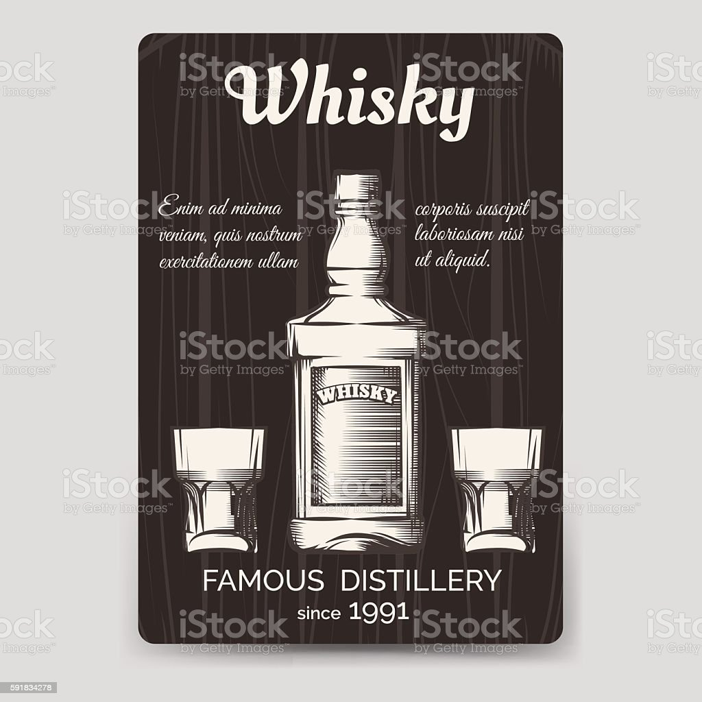 Whisky brochure flyer template vector art illustration