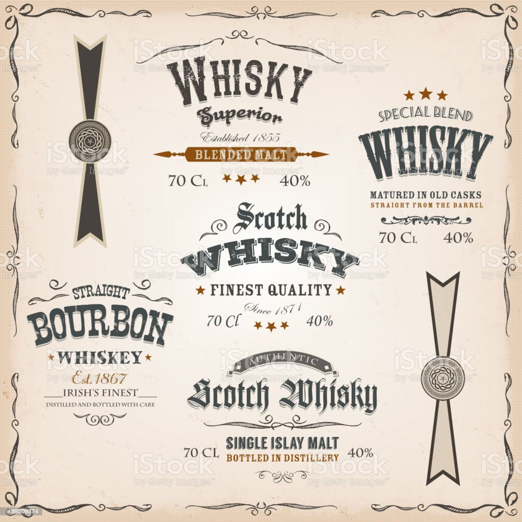 Whisky Labels And Seals On Vintage Background vector art illustration