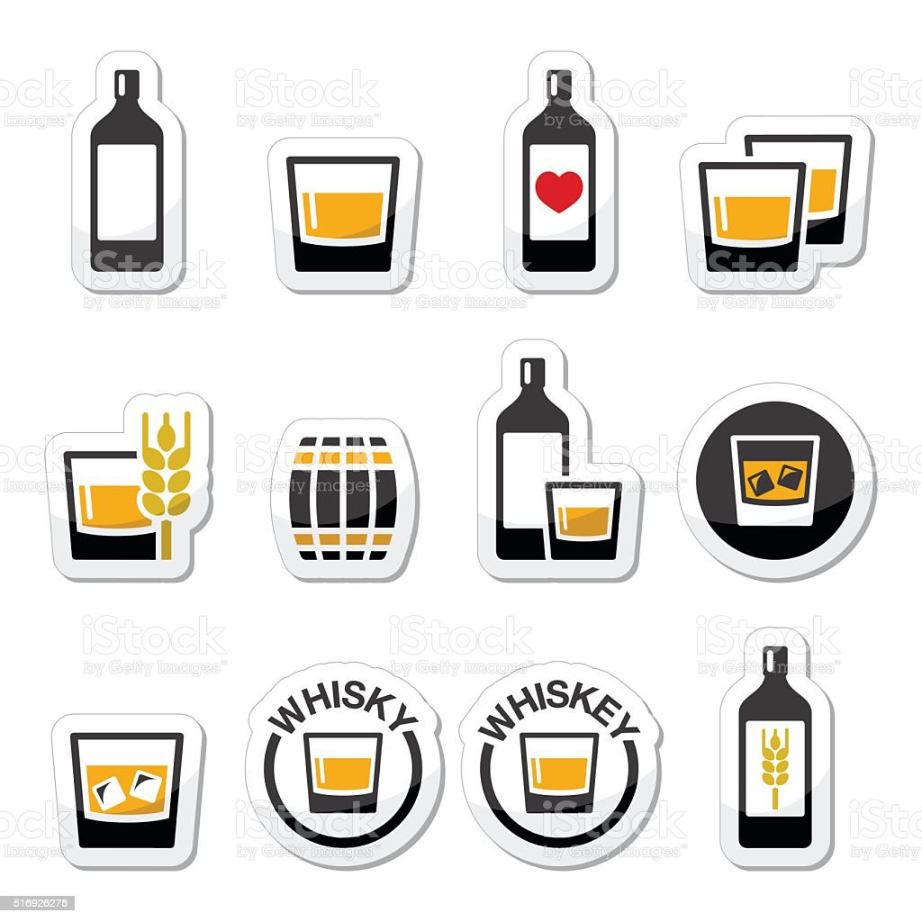 Whisky or Whiskey alcohol icons set vector art illustration