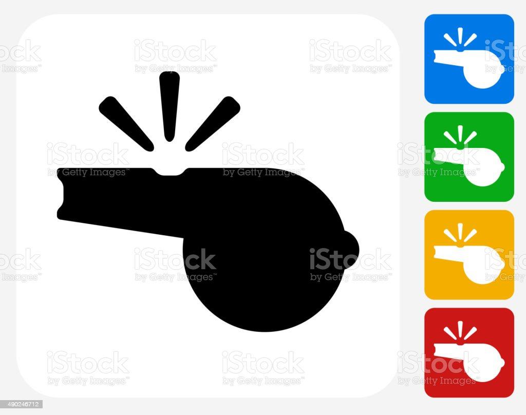 Whistle Icon Flat Graphic Design vector art illustration