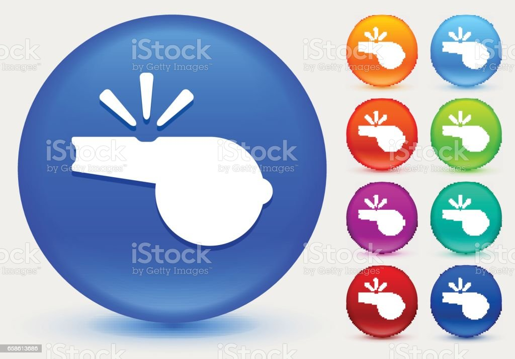 Whistle Icon on Shiny Color Circle Buttons vector art illustration