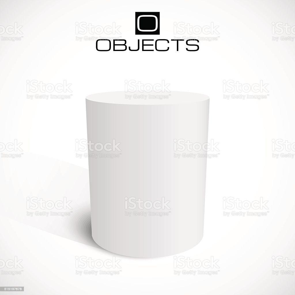 White 3d cylinder stand isolated on background. Platform or podium vector art illustration