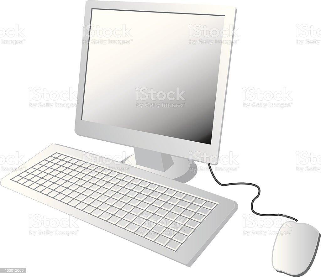 White 3D illustration of desktop PC on white background royalty-free stock vector art