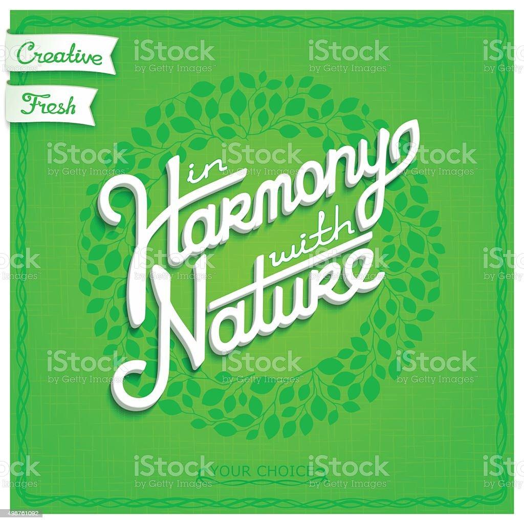 White 3D lettering on floral background vector art illustration