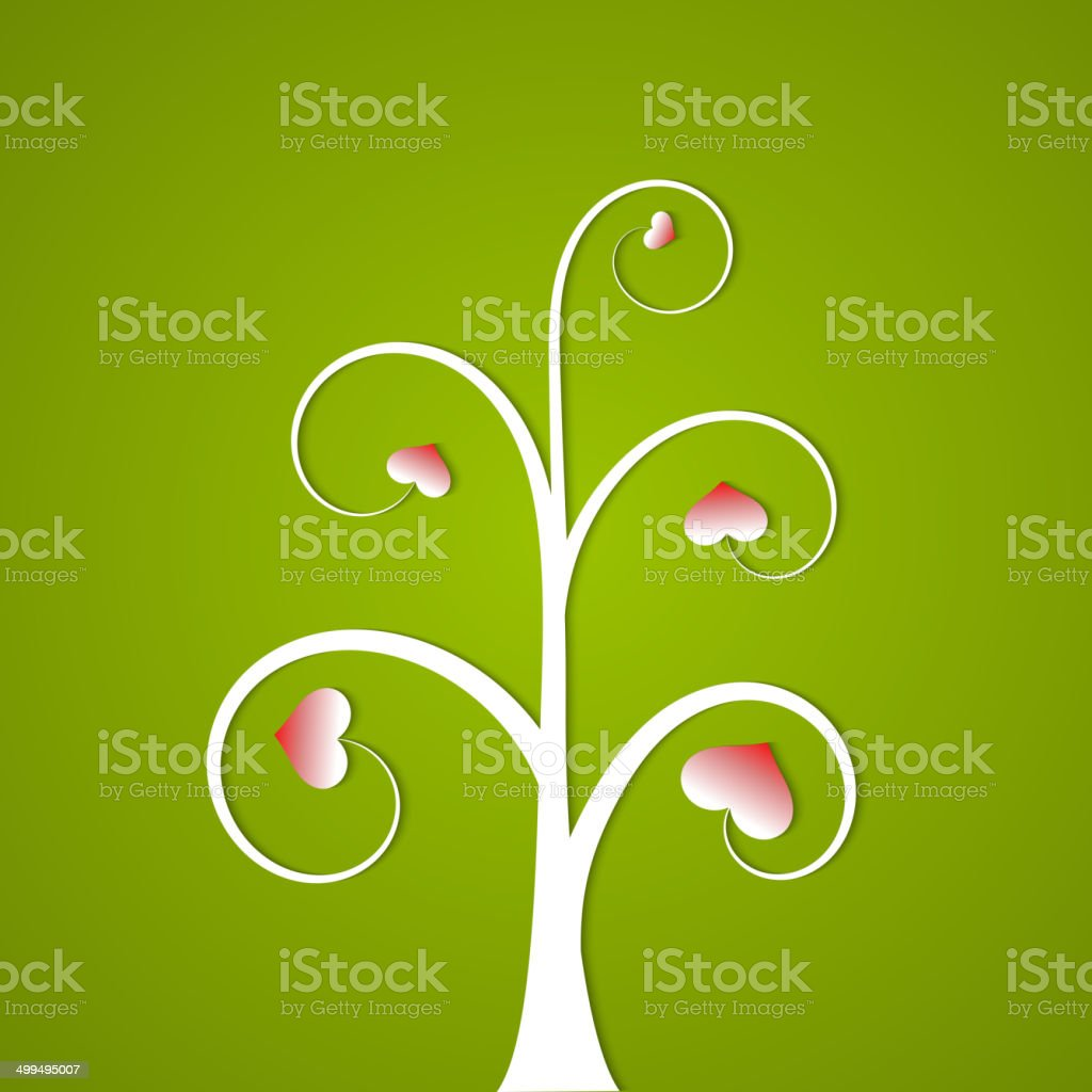White abstract tree with hearts on a green background vector art illustration