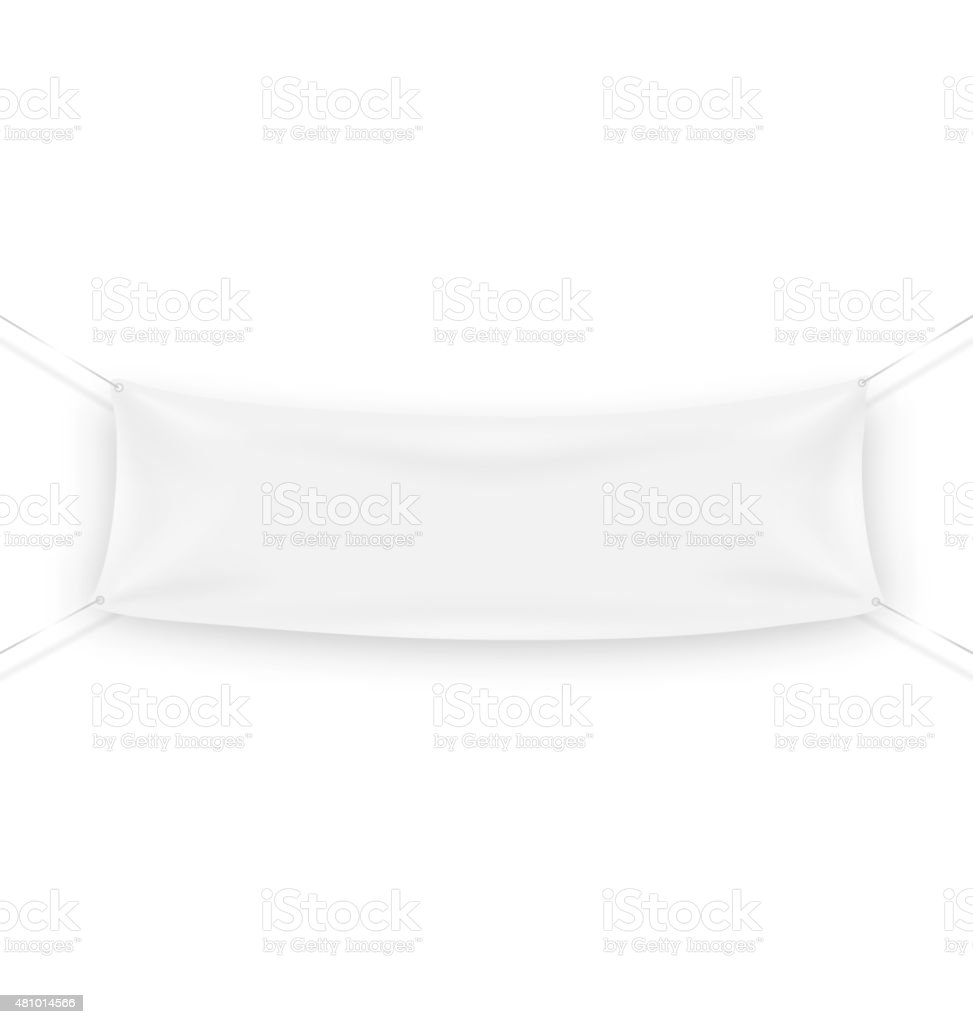 White Advertising Banner Steamer for Text Isolated on White vector art illustration