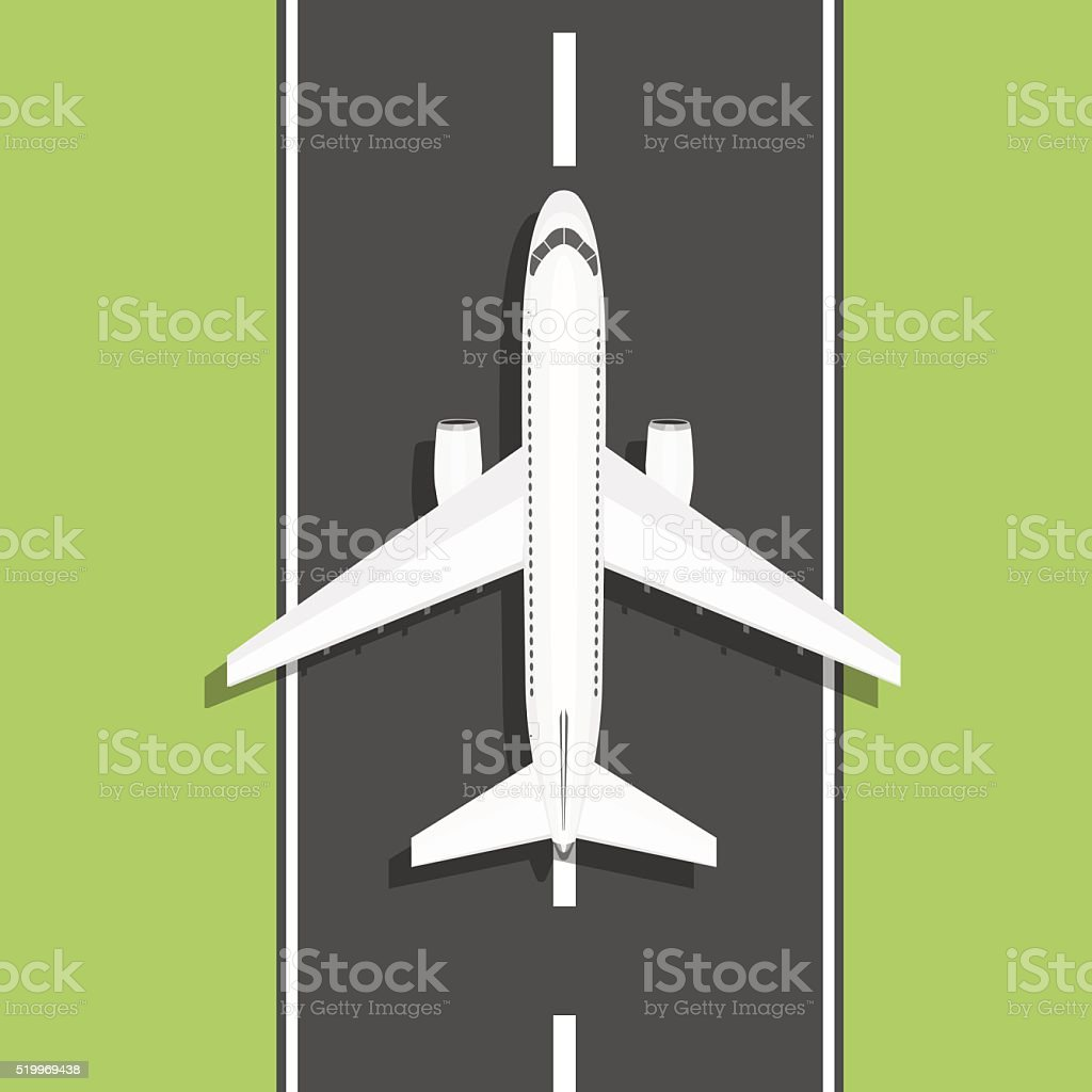White airplane rides on the runway vector art illustration