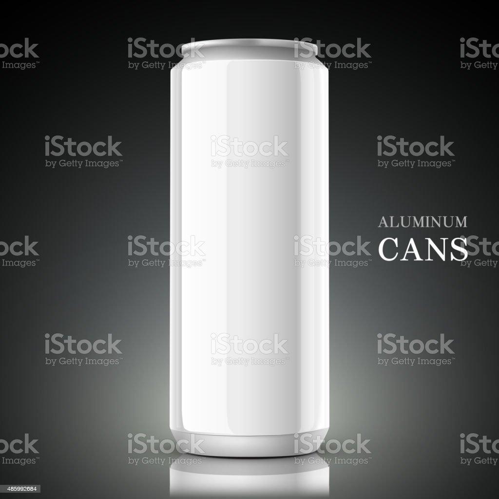 white aluminum can vector art illustration