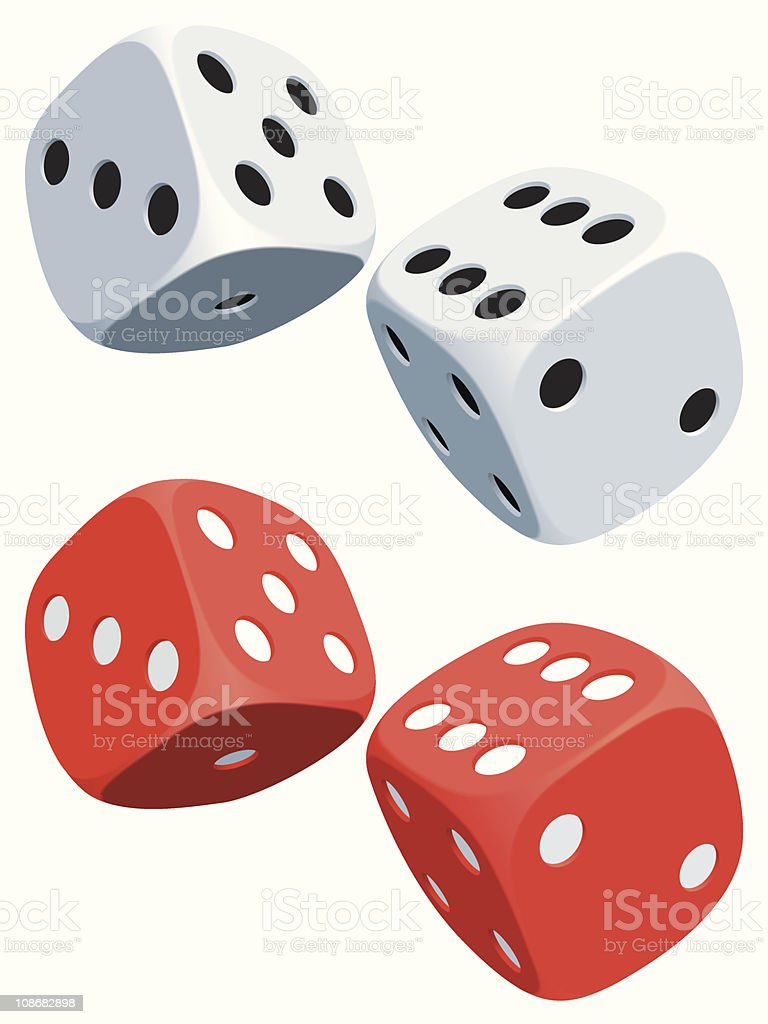 White and black and red and white dices vector art illustration