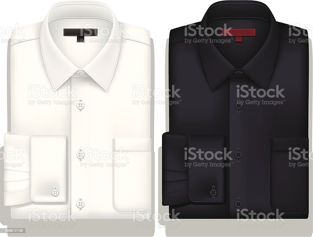 White and Black ButtonDownShirt royalty-free stock vector art
