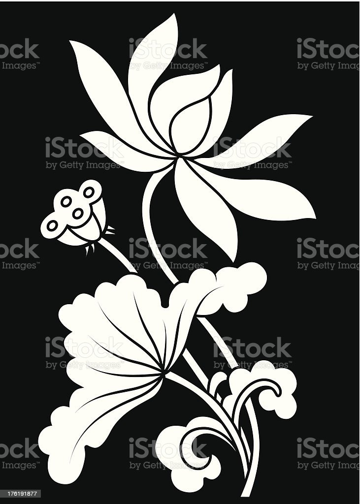 A white and black illustrated Lotus flower royalty-free stock vector art
