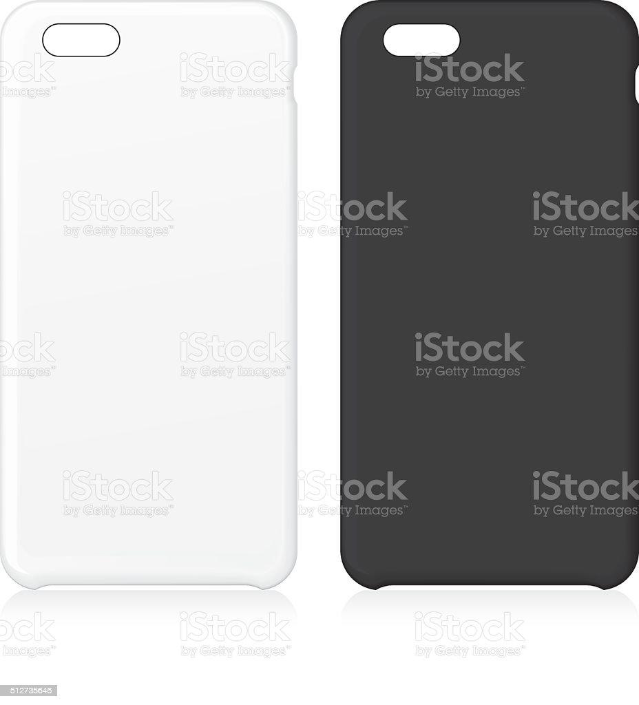 White and black phone case set. vector art illustration