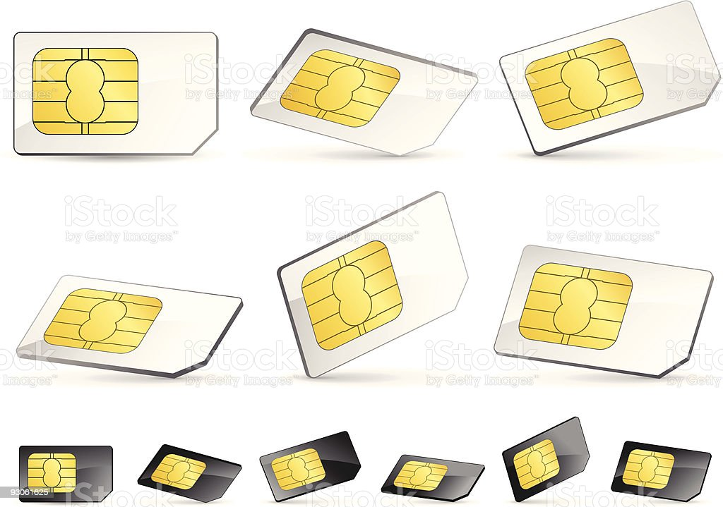 White and black SIM cards illustration royalty-free stock vector art