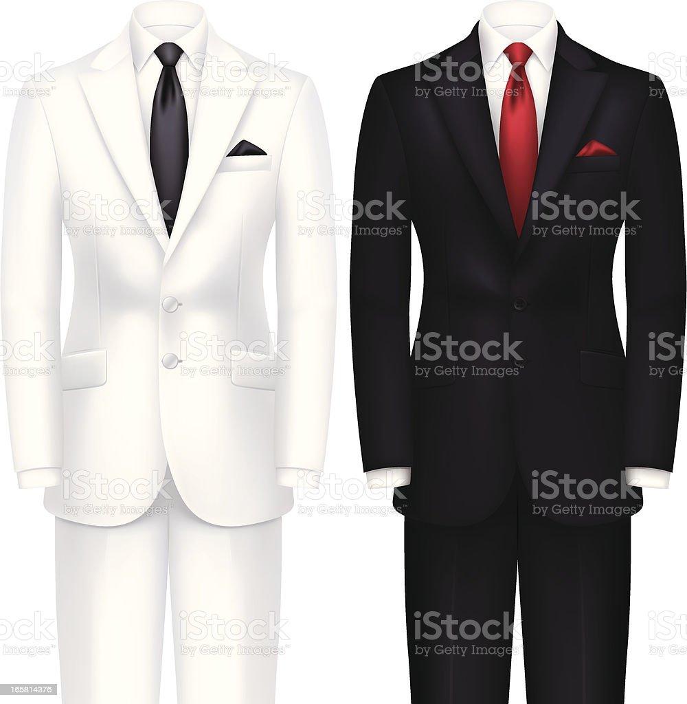 White and Black Tuxedo royalty-free stock vector art