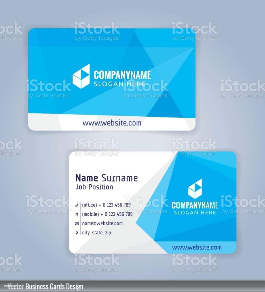 White And Blue Modern Business Card stock vector art 653274596 | iStock