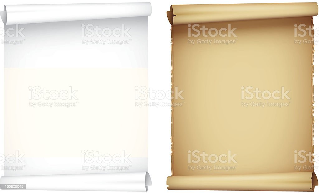 White and brown scroll side by side vector art illustration