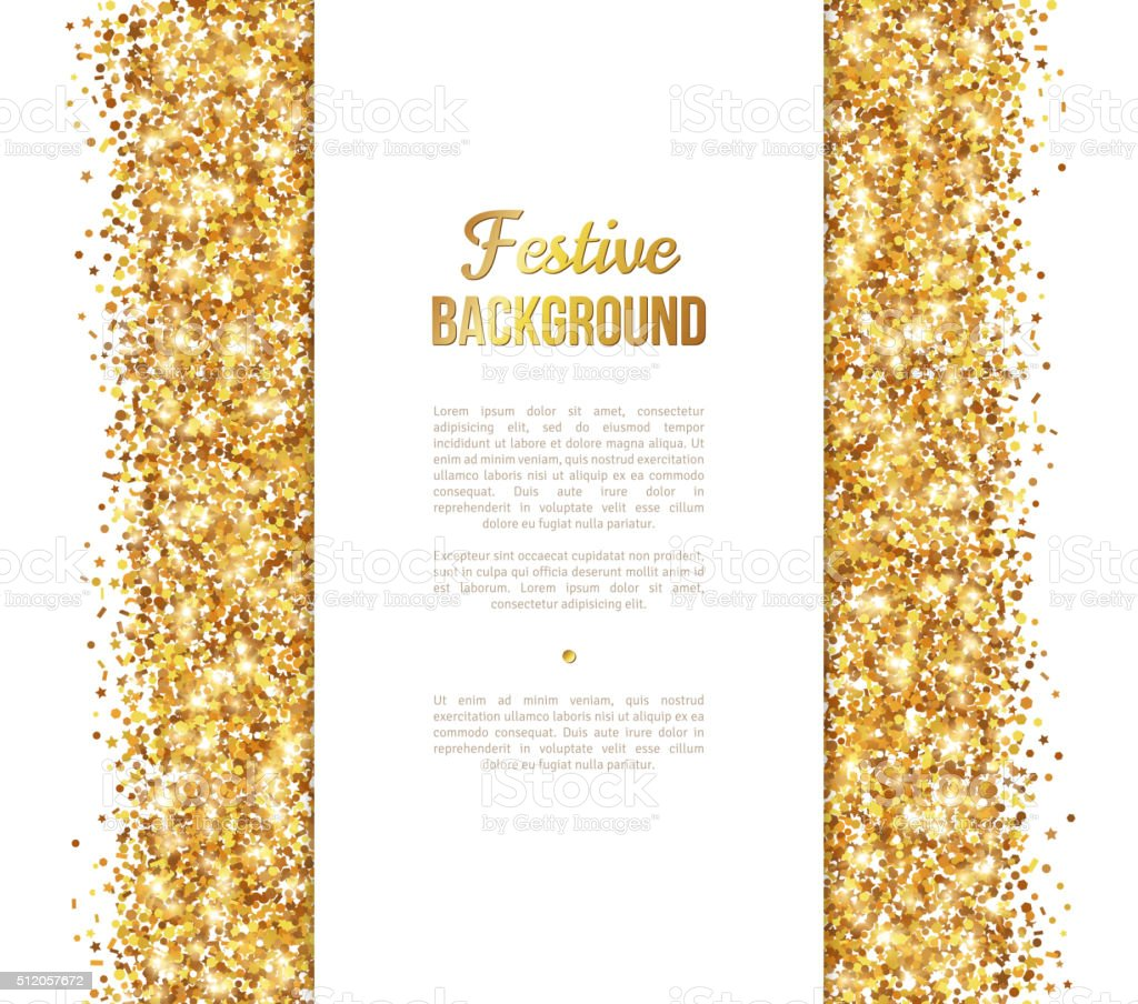 White and Gold Banner, Greeting Card Design vector art illustration