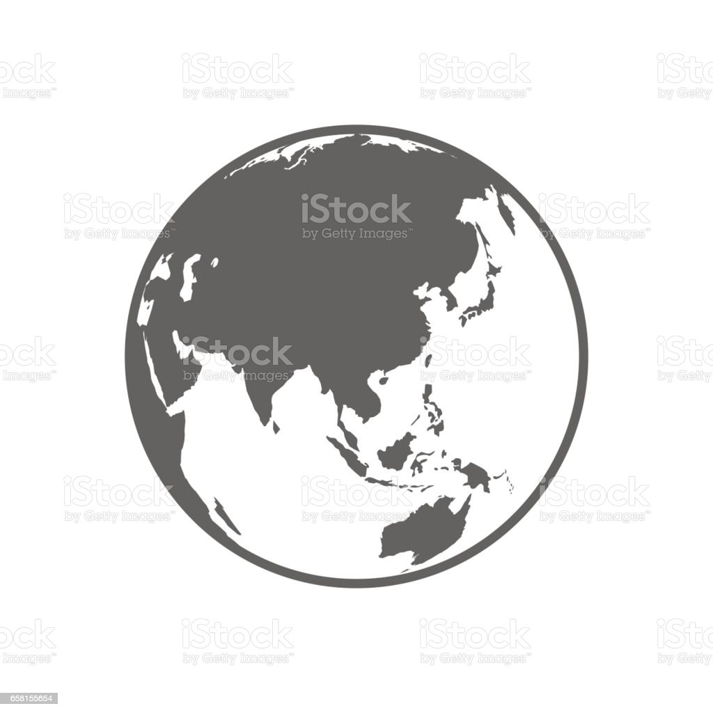 White and gray flat globe symbol vector illustration. vector art illustration