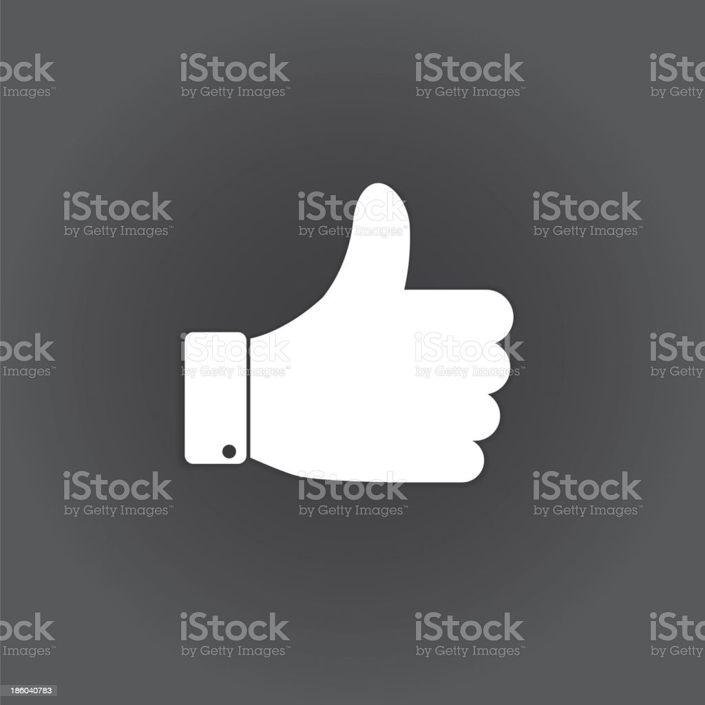 White and gray icon of a hand giving the thumbs up sign royalty-free stock vector art