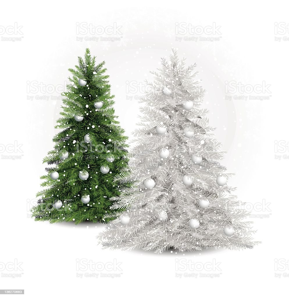 white and green pine trees vector art illustration
