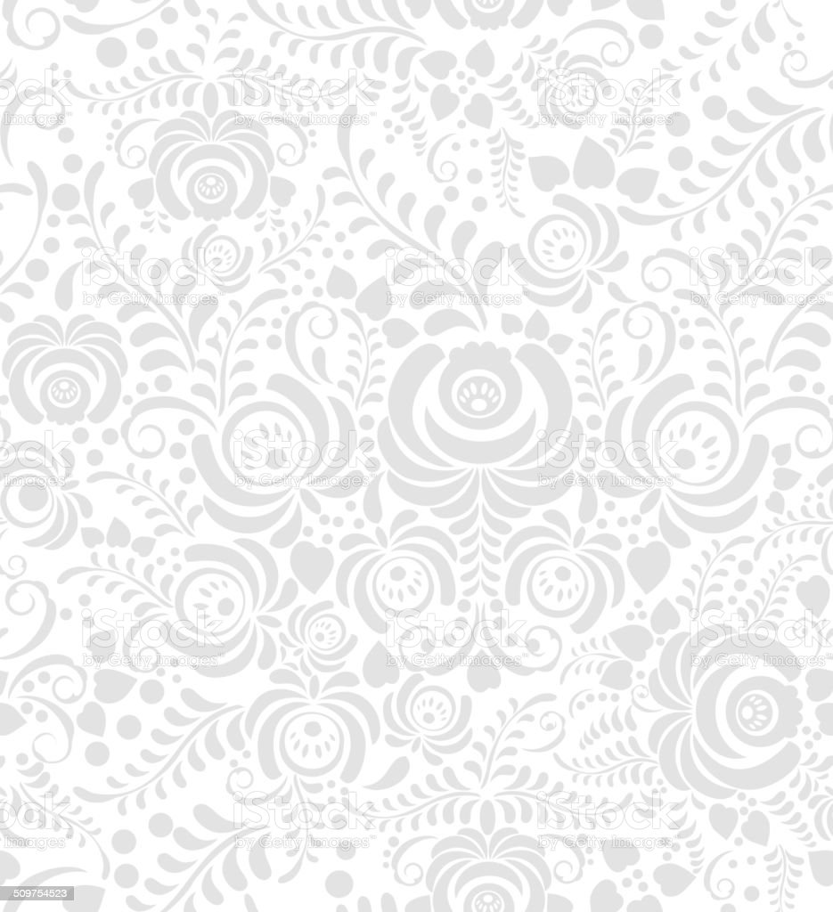 White and grey seamless pattern in Russian style gzhel vector art illustration