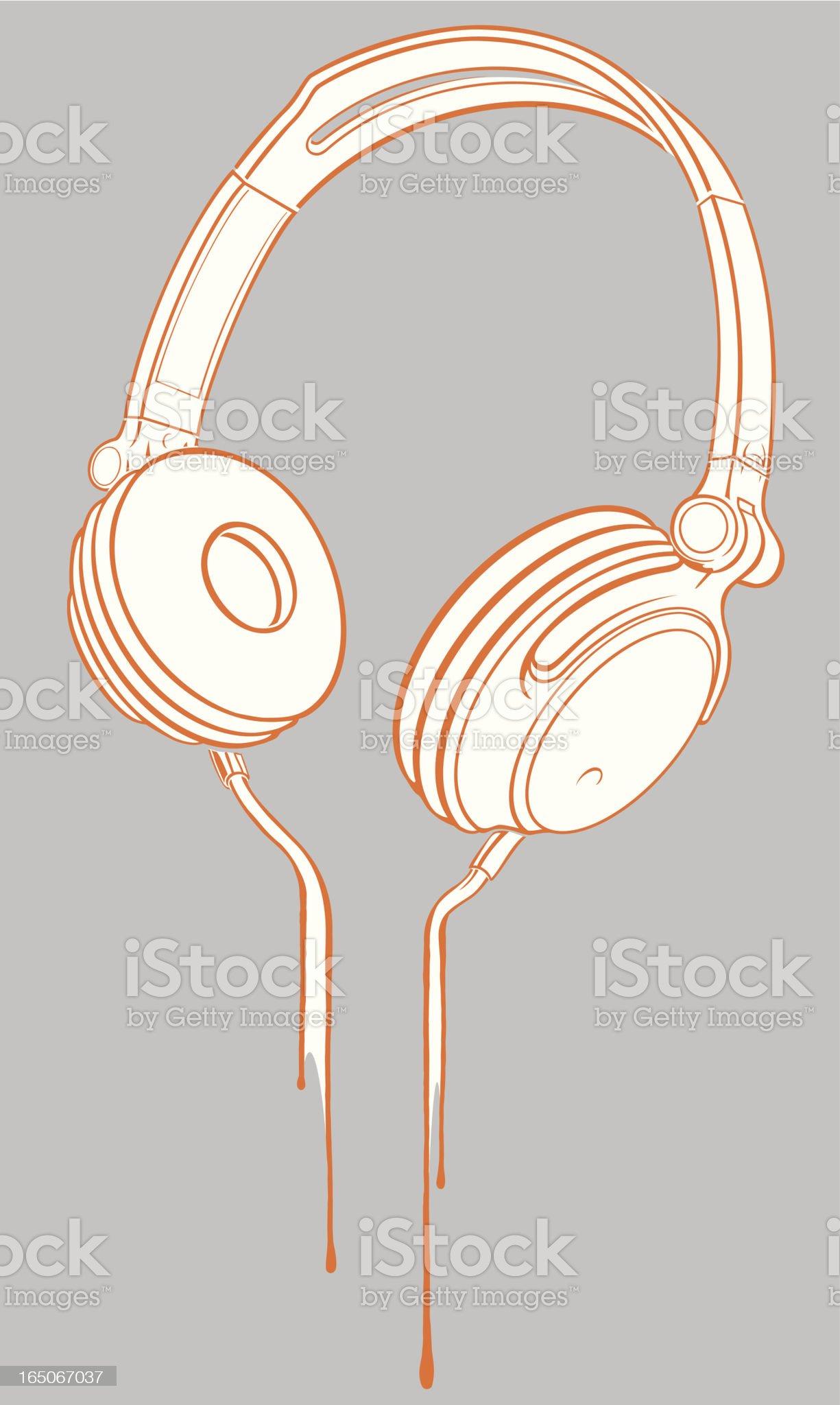 White and orange headphones on gray background royalty-free stock vector art