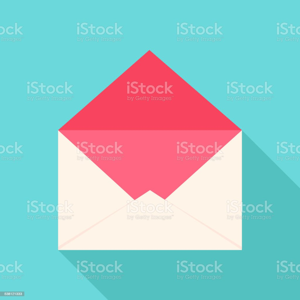 White and pink open envelope vector art illustration