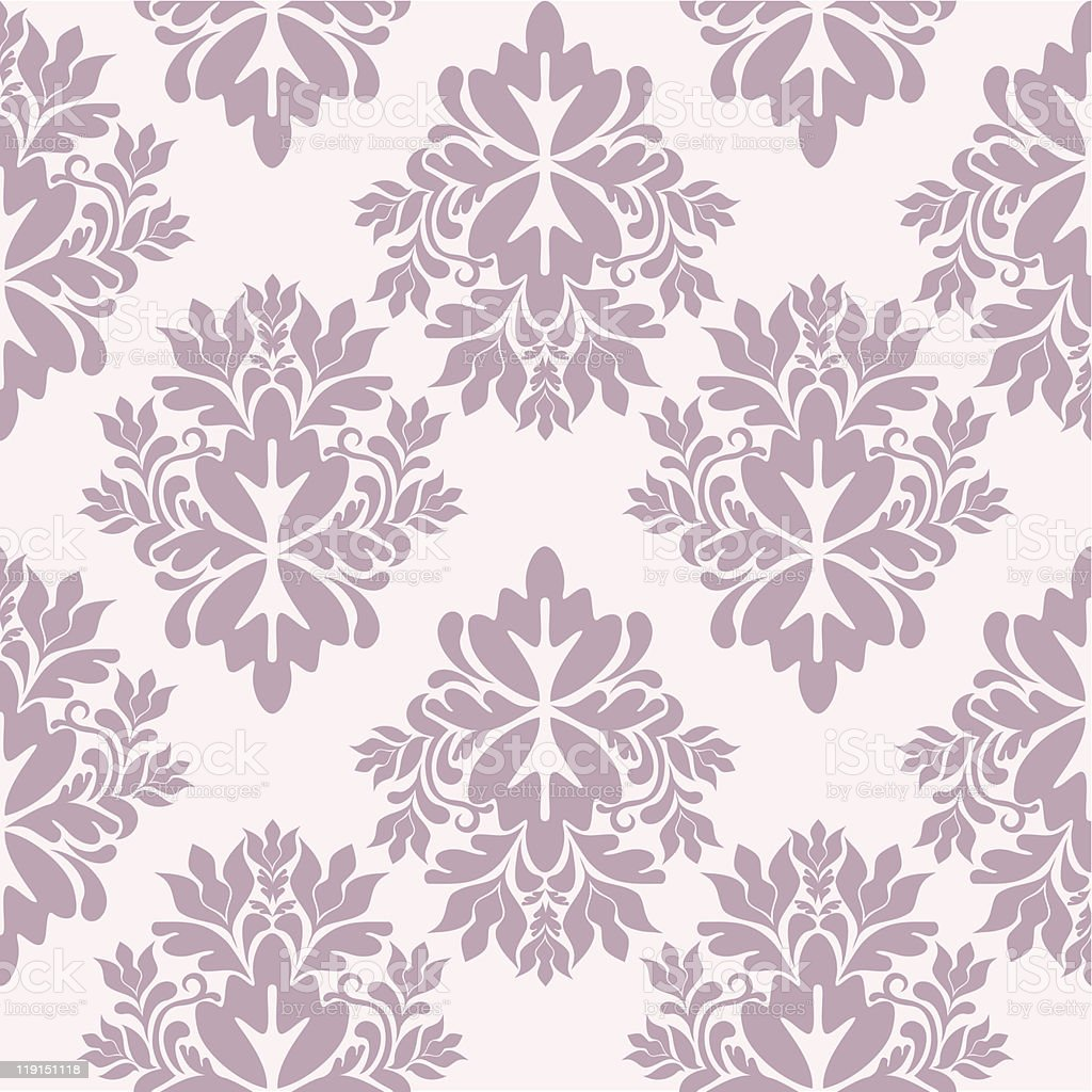 White and purple wallpaper with damask design  royalty-free stock vector art