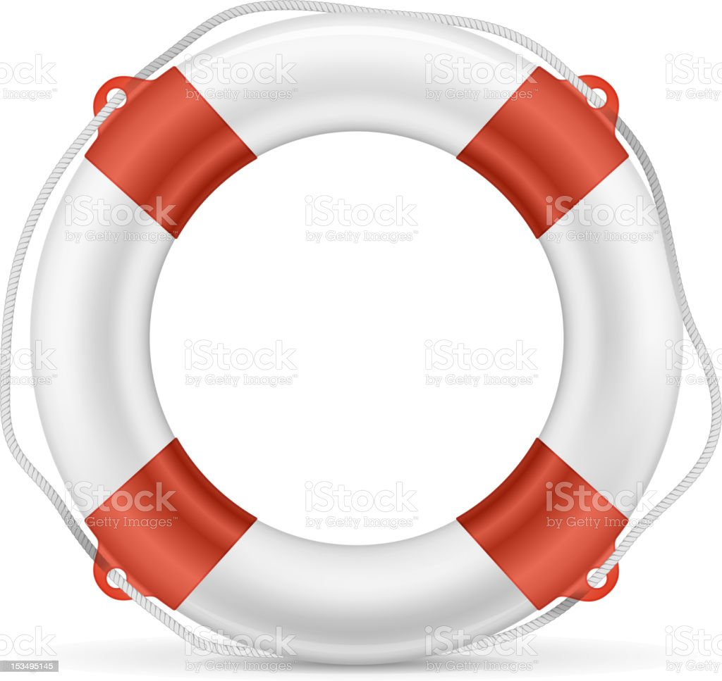 White and red lifebuoy with cord royalty-free stock vector art