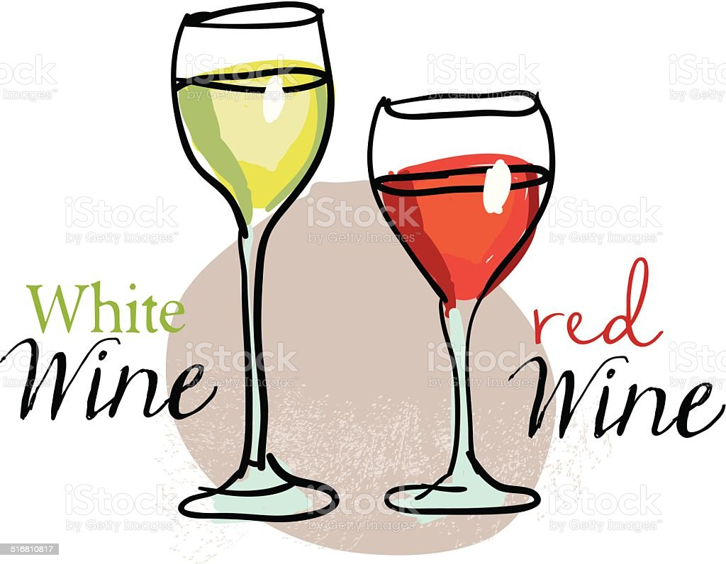 White and red wine vector art illustration