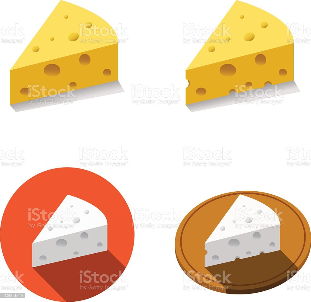 White and Yellow cheese in flat style vector art illustration