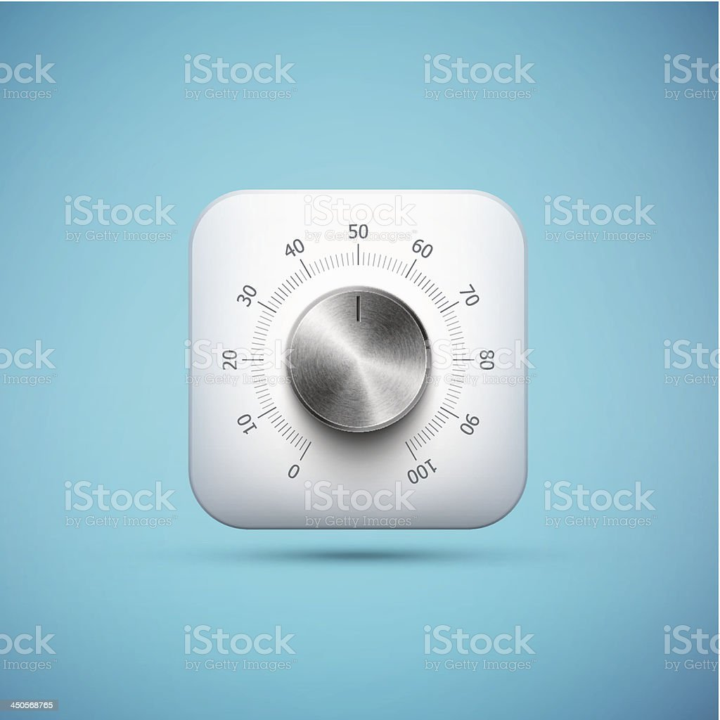 white app icon with music volume control knob royalty-free stock vector art