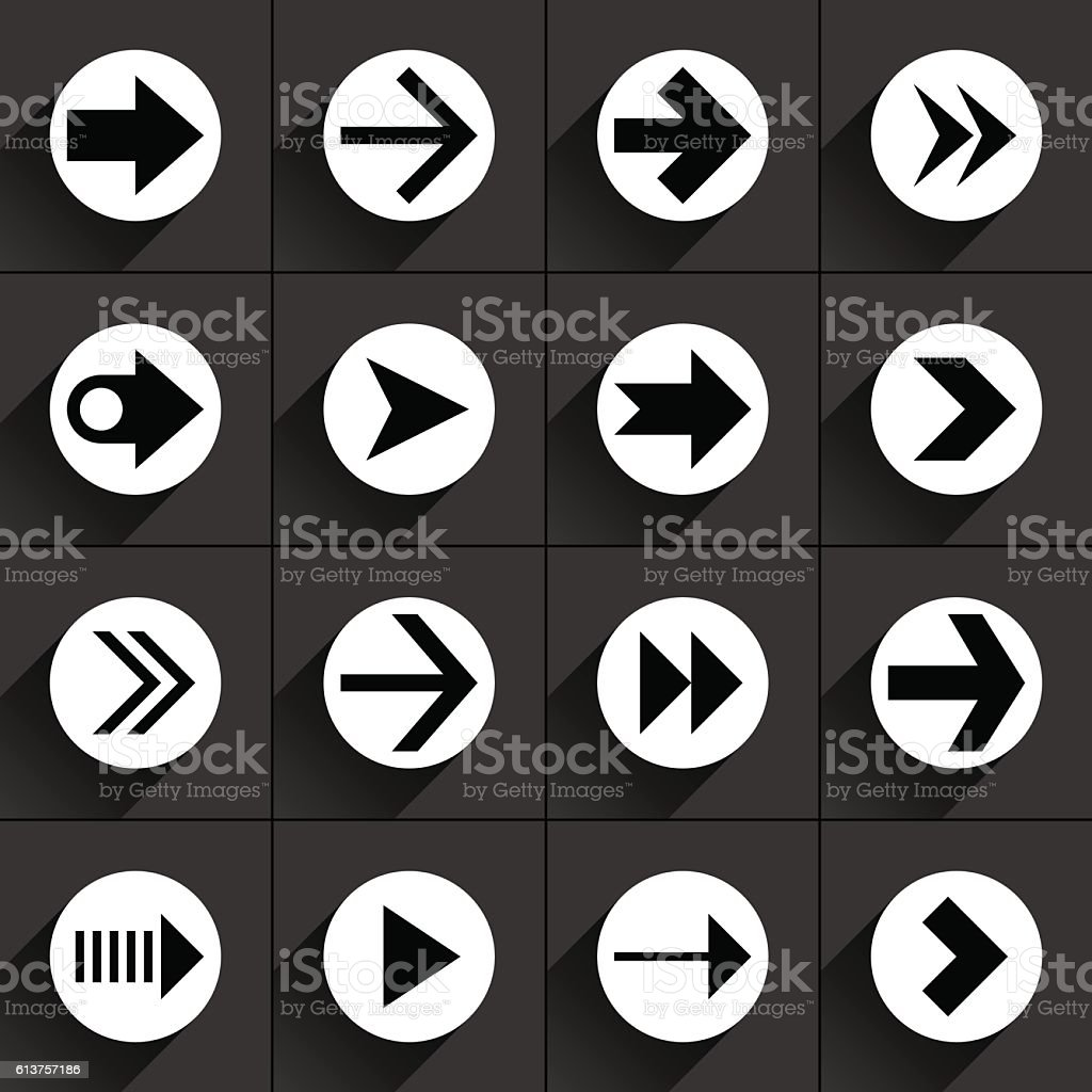White arrow icon on black vector art illustration