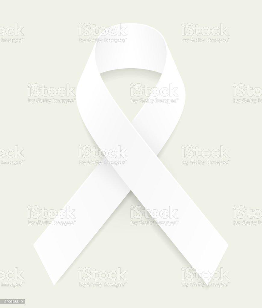 White Awareness Ribbon vector art illustration