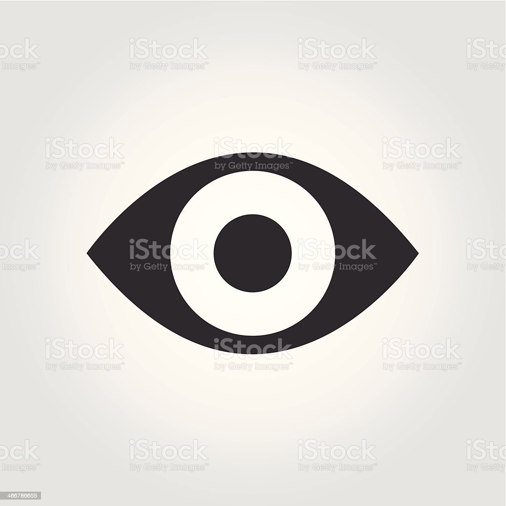 White background and black eye shape with dark circle center vector art illustration