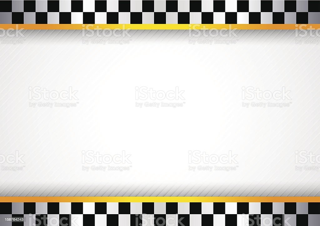 White background featuring checkered flag border vector art illustration