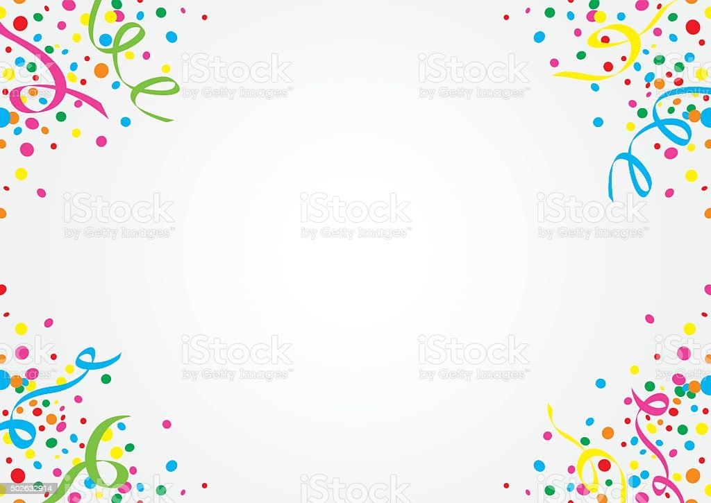 White background of colorful confetti and streamers vector art illustration