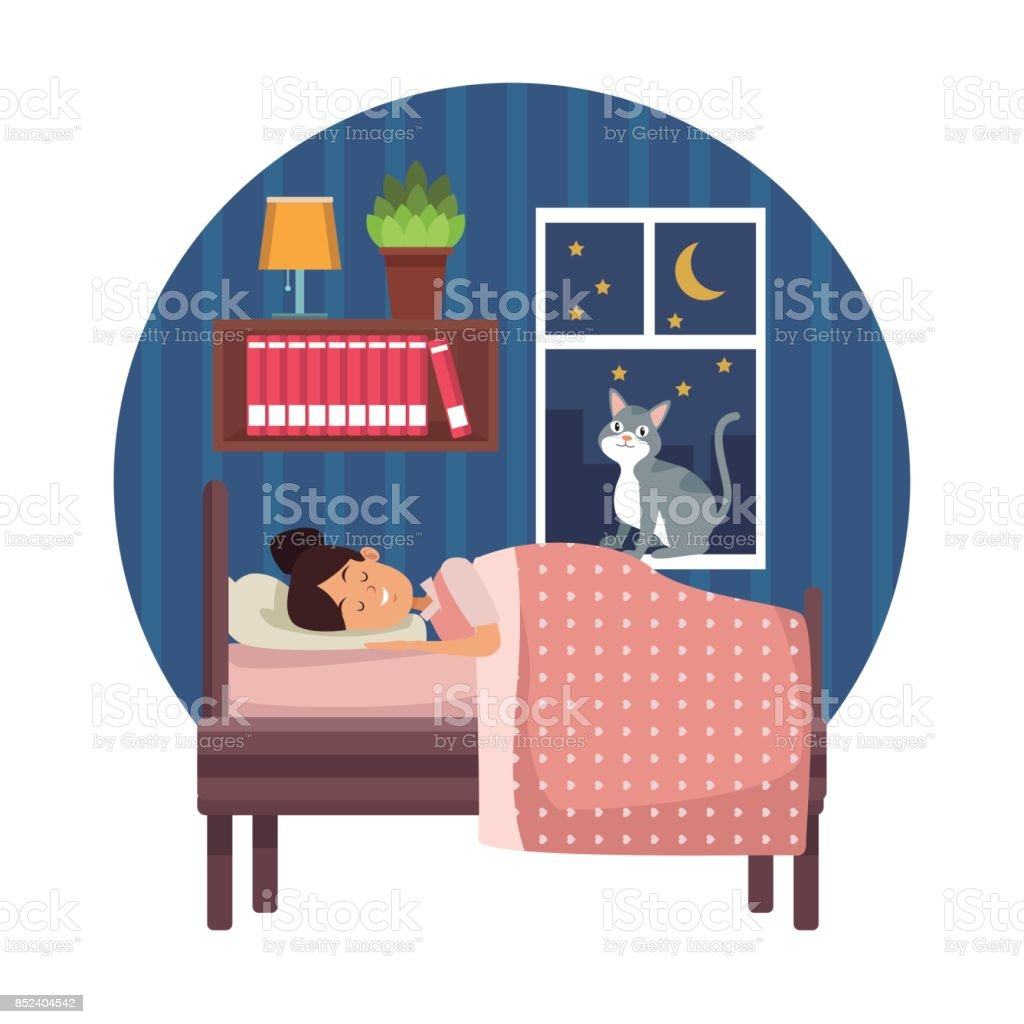 white background with circular colorful scene girl sleep with blanket in bedroom vector art illustration